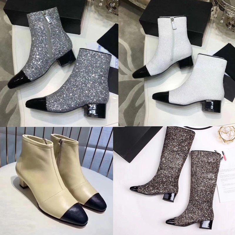 b4b601d46ed Glittered Leather Women Short Boots Silver Beige Cap Toe Ankle Boots  Calfskin Med Heel Pumps Designer C Luxury Brand Shoes High Heels Heels From  Anlote1688