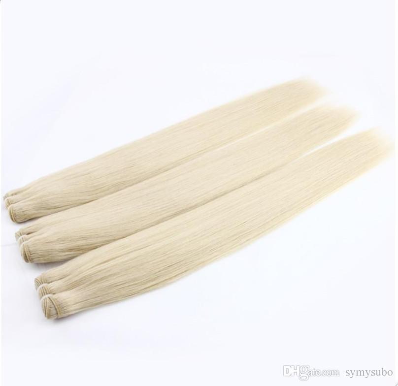 Fasci di capelli vergini brasiliani Tessuto umano Hai puro colore dritto Remy Double trama di 10-30 pollici Tessitura di capelli brasiliani
