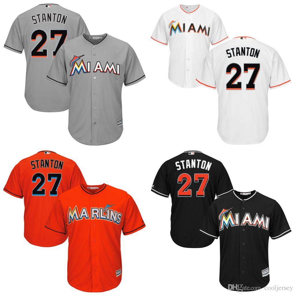 e05f3fc568e ... cool base jersey 859f9 97ea0 hot mlb jersey 2017 youth miami marlins 27  giancarlo stanton majestic white orange grey black home ...