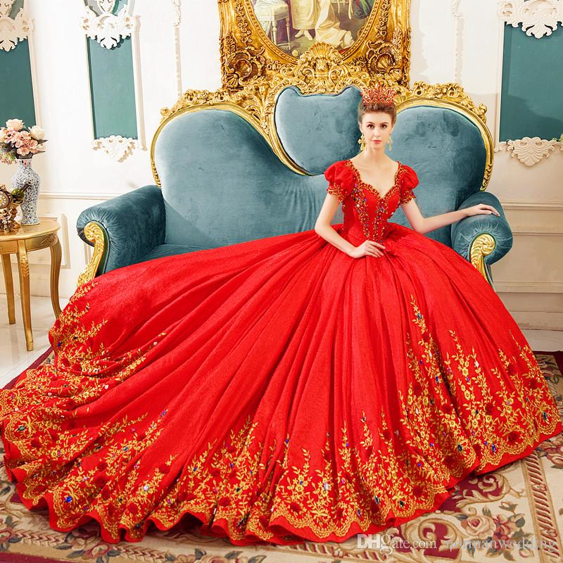 Red Wedding Dresses 2017 V Neck Princess Beading Embroidery Luxury ...