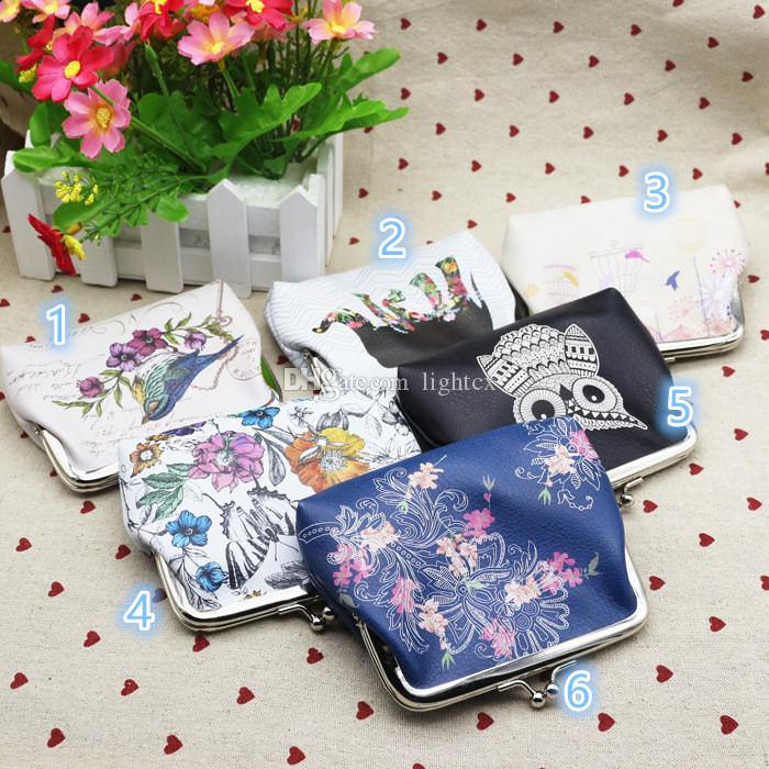 Hot cartoon Butterfly Owl Bird Flower Elephant birdcage Pattern PU Hasp wallet Girls Coin Bag lady Pouch Purse Wallet Christmas Gift
