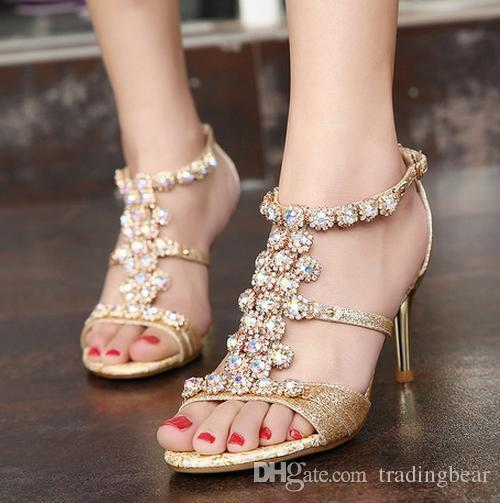 402f70c7b Glitter Gold Crystal Gem Summer Sandals Sexy Women High Heels Shoes Prom  Gown Party Wedding Size 34 To 39 Summer Shoes Purple Shoes From  Tradingbear