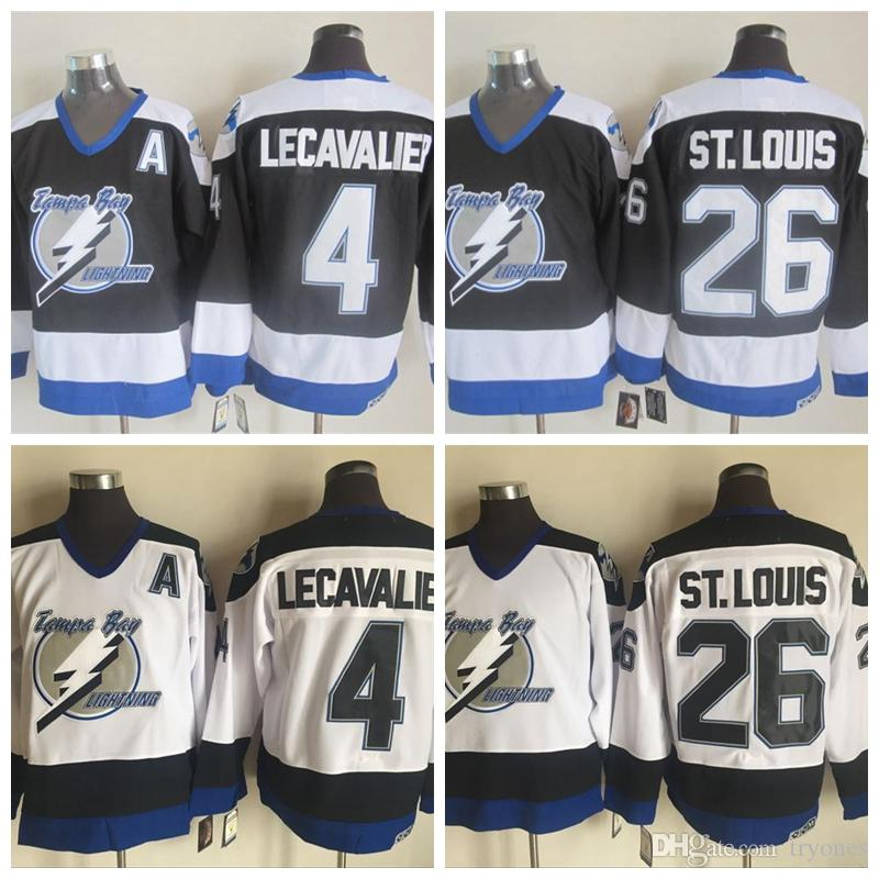 6b791be94 2019 Mens Tampa Bay Lightning Hockey Jerseys 26 Martin St. Louis 4 Vincent  Lecavalier Black Jersey Vintage CCM Stitched Cheap Shirts A Patch From  Tryones