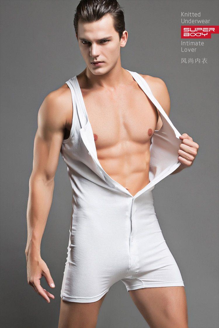Wholesale Sexy Men Bodysuit Gay Penis Pouch Man Body Suits Superbody Sexy Man Bodywear Bodybuilding Cotton Tank Top Sing