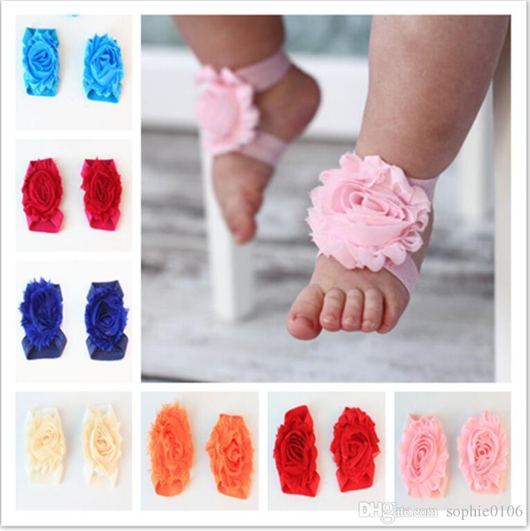 Детские сандалии младенческой шифон ноги цветок босиком ноги цветок галстуки украшения младенческой дети девочка дети первый ходунки обувь фотографии реквизит
