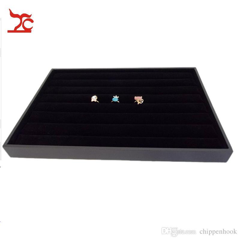 Gratis frakt Högkvalitativ smycken Display Case Svart Velvet Ring Storage Arrangör Bricka 2st