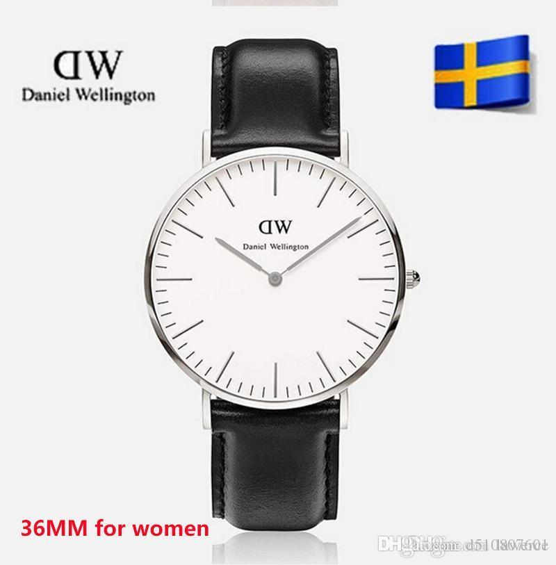 2017 top luxury brand Daniel donne moda uomo in pelle stile 40 / 36mm oro rosa mens orologi montre femme relojes