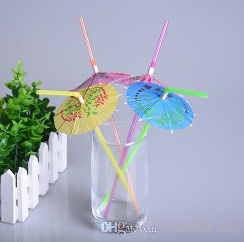 Disposable Straw with Umbrella for Cocktail Parasols Straws for Drinking Wedding Party KTV Bar Supplies Holidays Hot Sale