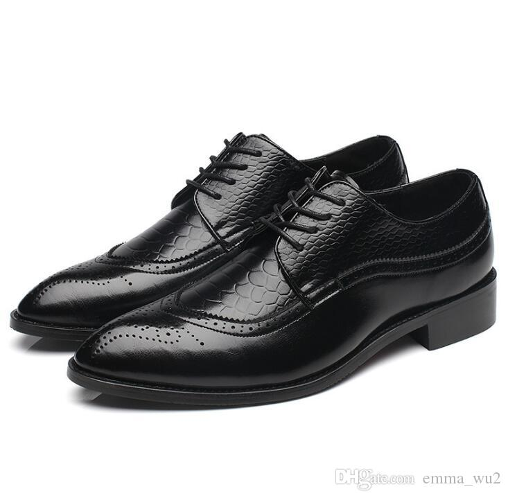 Fashion Patent Leather Men's Business Dress Derby Shoes Classic Carving Brogue Man Wedding Party Shoes Zapatos Hombre big size 48