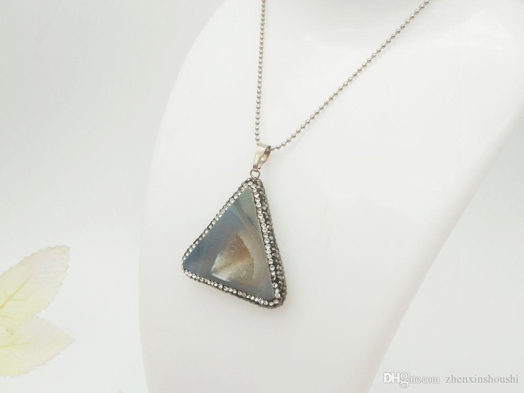 2 adet Yeni moda doğal akik kristal kolye, basit ve güzel bayan mücevher kolye kolye aksesuarları, noel hediyesi