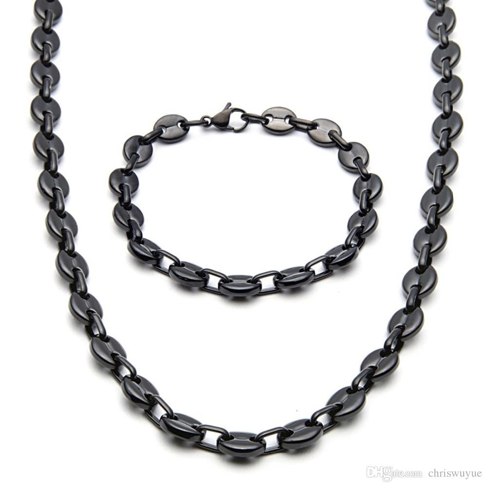 Мода Jewlery 9мм Wide Brand New Men / Женские Silver / Black / Golg тон нержавеющей стали Coffee Bean Link цепи ожерелье браслет nb07
