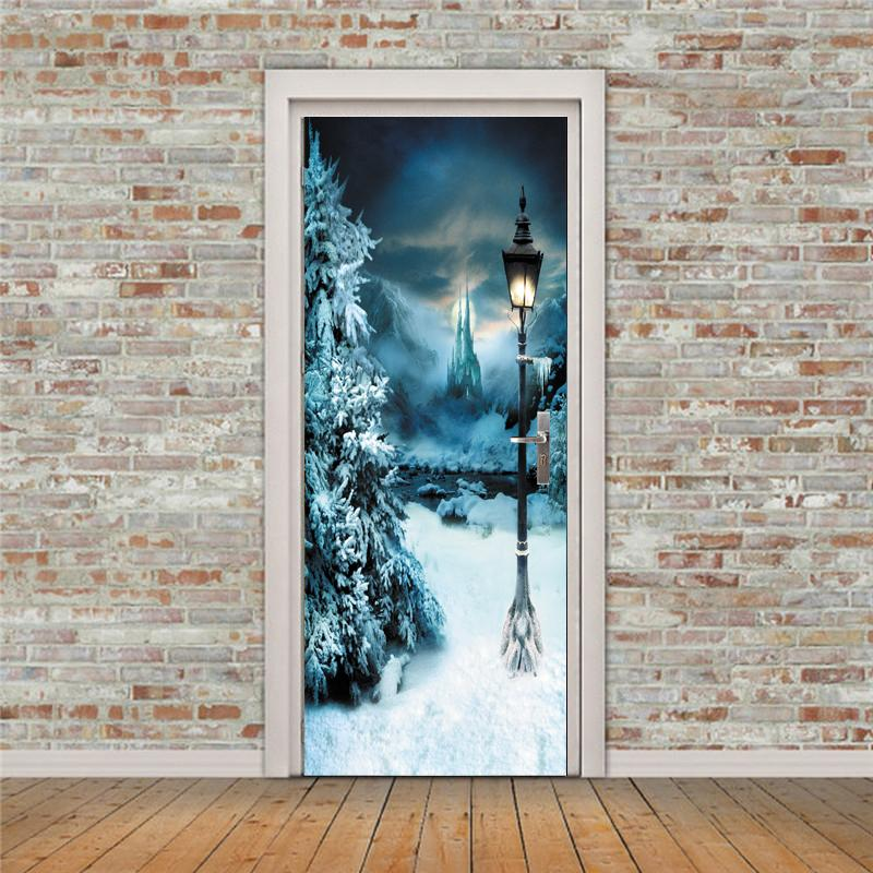 Diy 3d Wall Sticker Mural Bedroom Home Decor Poster Pvc Lamp Lamppost In  Winter Door Wrap Removable Door Sticker Decole 77*200cm Stickers For House  Walls ...