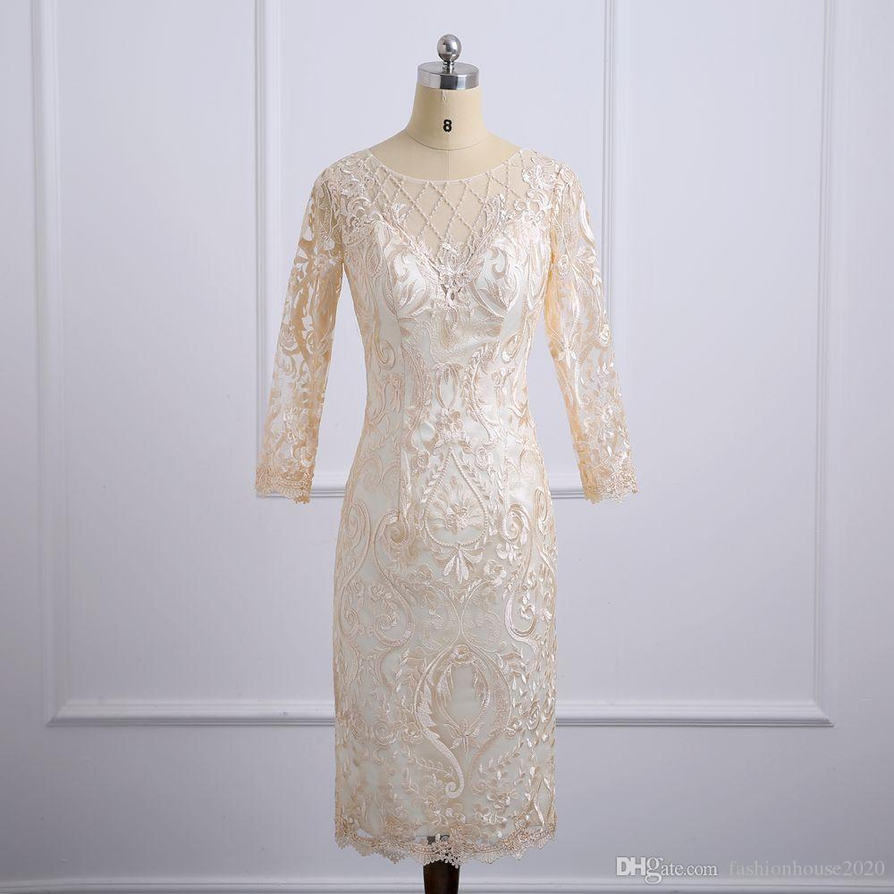 cd45b2d1142 Champagne Lace Tea Length Mother Of The Bride Dresses With Jacket Appliques  Plus Size Wedding Guest Dress Formal Evening Gowns Sleeves Mother Of Groom  ...