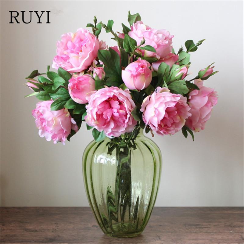 Colorful Peony Living Room Artificial Flower Home Wedding Silk Rose ...