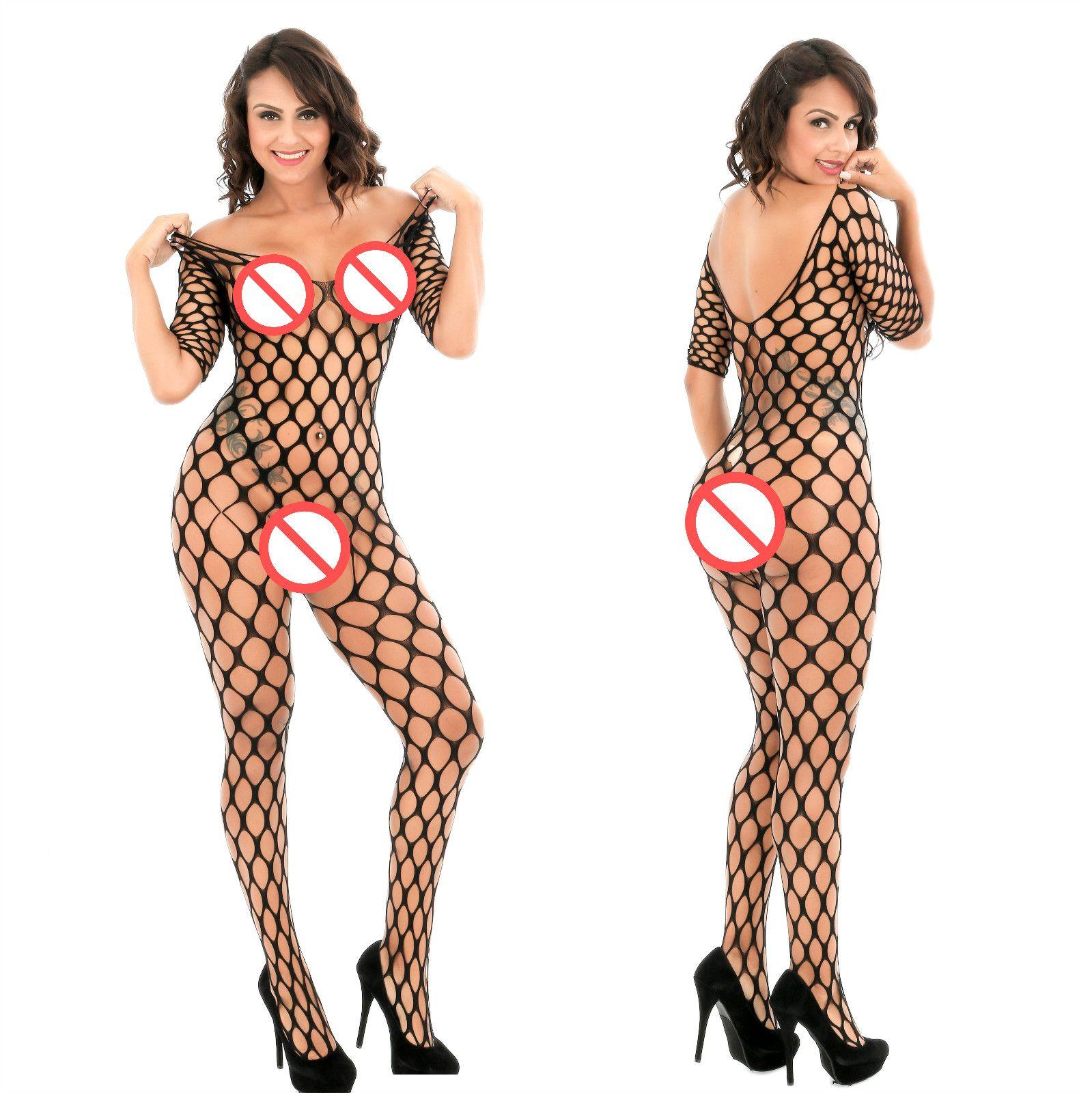 Половина рукава большой ажурные нижнее белье Sexy выдалбливают Bodystocking боди эротические пижамы ночное белье Langerie колготки фетиш