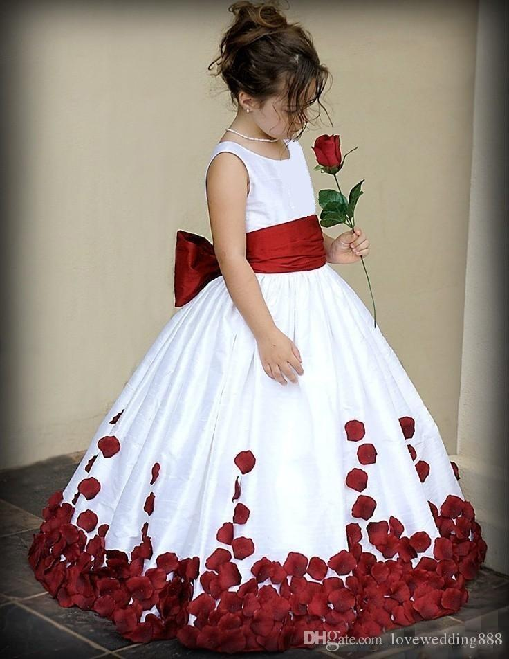 2018 Flower Girl Dresses Red And White Bow Knot Rose Taffeta Ball Gown Jewel Neckline Little Girl Party Pageant Gowns