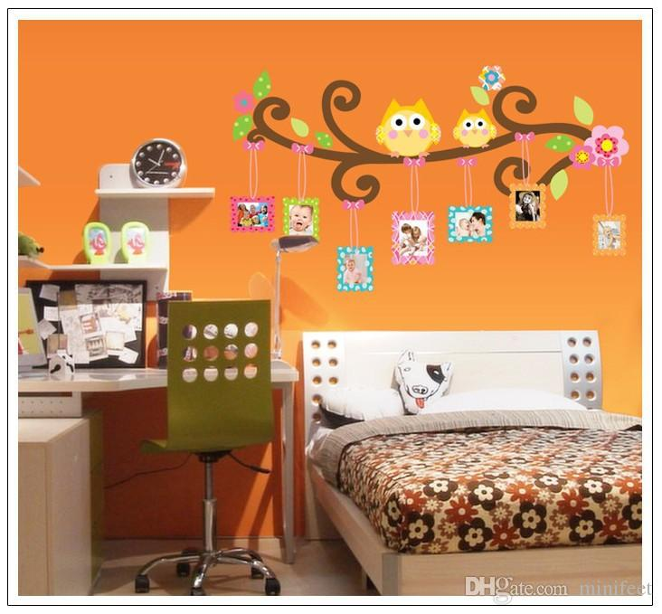 Cartoon owls photo PVC wall stickers kindergarten nursery children bedroom wall decoration arts waterproof wallpaper murals