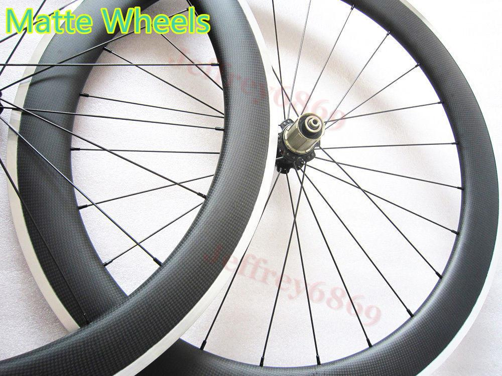 20/24 50mm clincher carbon wheels 700c road racing bicycle front 20 rear 24 holes 23mm aluminium brake track 3K matte 50C