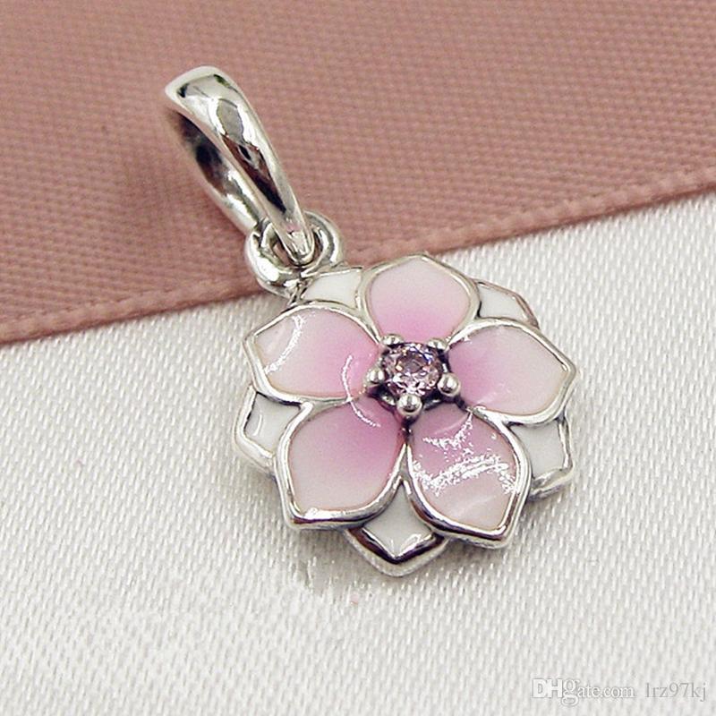 2017 весна 925 стерлингового серебра Магнолия Блум мотаться очарование шарик с розовой эмалью подходит Европейский Пандора ювелирные браслеты