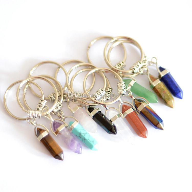 24 renkler Altıgen Prizma Doğal Taş Kolye Anahtar Yüzükler Noktası Çakra Şifa Bullet Şekli Kristal Anahtarlık Takı kadın erkek ...