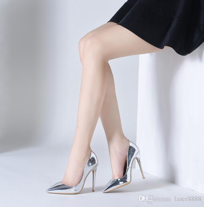 99ef940df7 Brand Shoes 12CM High Heels Silver Wedding Shoes Women Pumps Patent Leather  Fashion Women Bridal Shoes Sexy Heels Pumps Boat Shoes For Men Navy Shoes  From ...