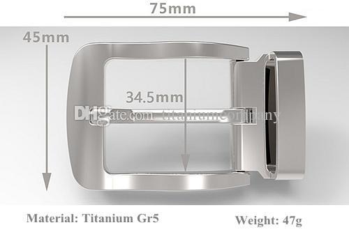 Titanio GR5 Pin Belt Buckle Nichel-libero anticorrosione antiallergico No-placcatura Light Weight 47g con il ciclo della cinghia il nastro largo 32mm a 34 millimetri
