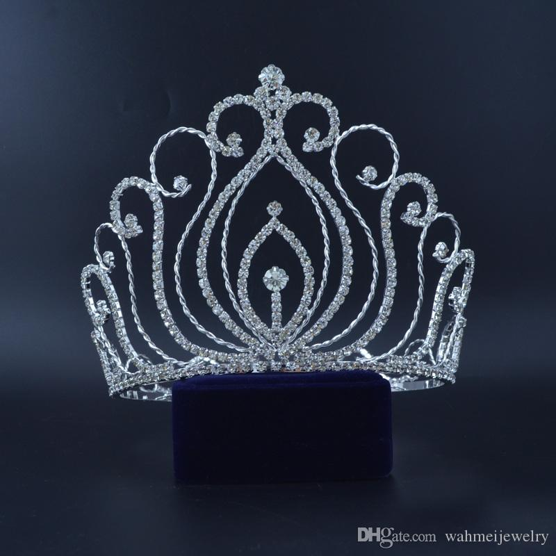 Large Full Pretty Crowns For Pageant Contest Crown Auatrian Rhinestone Crystal Hair Accessories For Party Show 02432