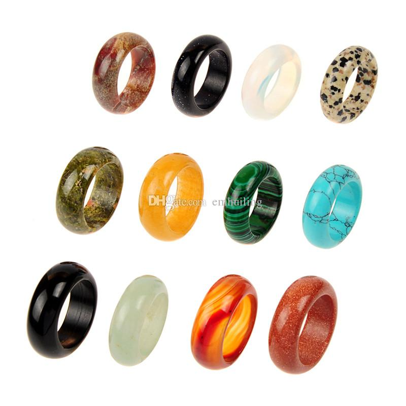 10pcs Sale Mixed Random Color Natural Stone Smooth Agate Fashion Finger Rings Jewelry for Women Men Real Assorted Quartz Crystal Band Rings
