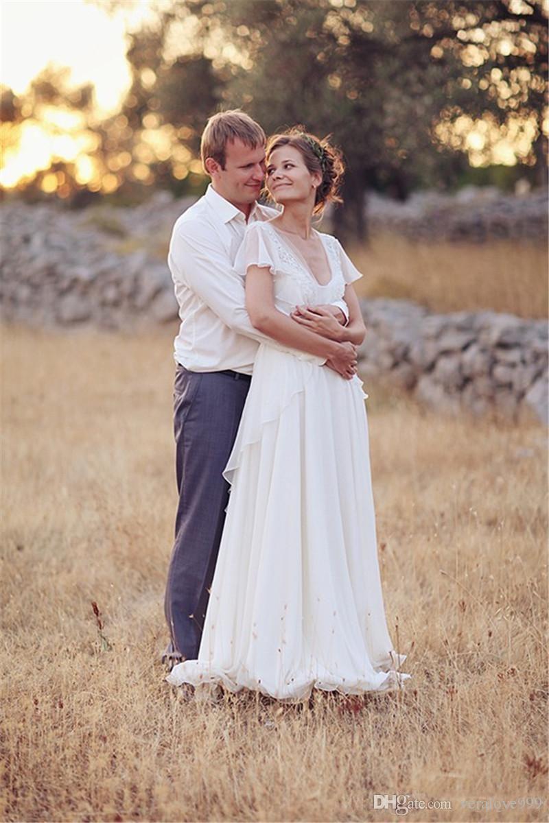 2019 Modest Beach Boho Wedding Dresses V Neck A Line Cap Sleeves Bride Gowns Vestidos De Novia Pregnant Party Gowns Custom Size