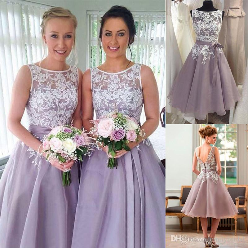 fd609f59275 Dusty Purple Bridesmaid Dress With White Lace Tea Length V Back Short Women  Formal Maid Of Honor Dresses For Weddings Cheap Best Bridesmaid Dresses ...