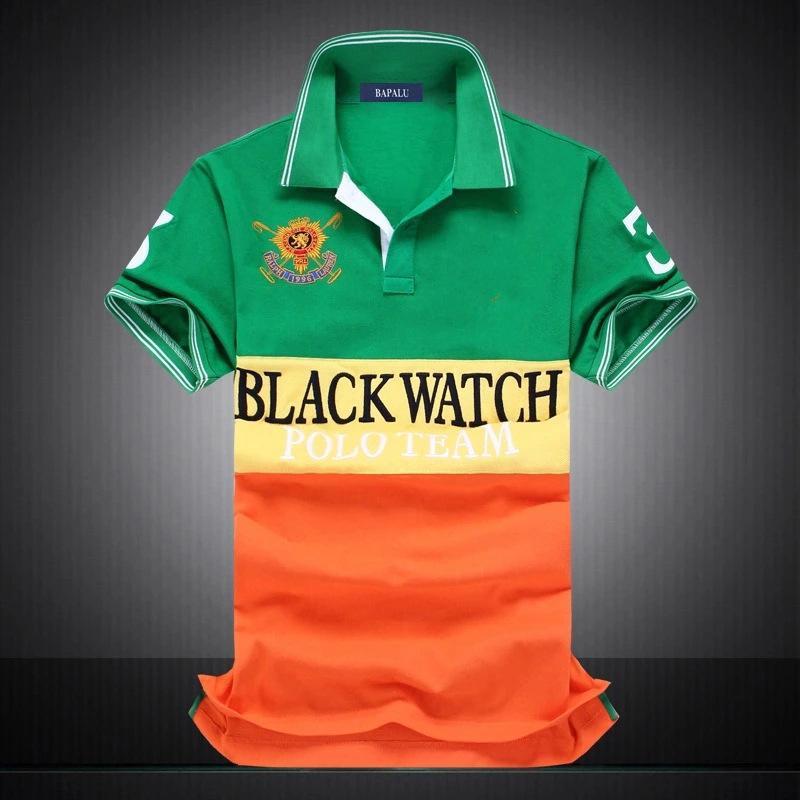 Remise PoloShirt hommes à manches courtes T-shirt marque polo shirt hommes Dropship pas cher meilleure qualité noir montre polo équipe # 1419 Livraison gratuite