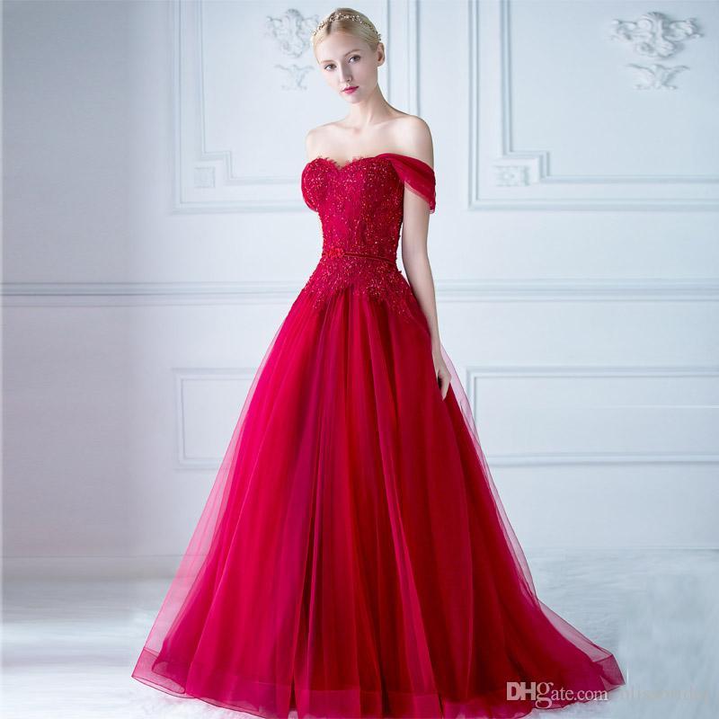 Großhandel Elegantes Schulterfreies Rotes Abendkleid Mit ...