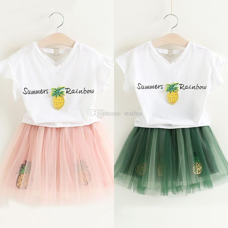 52514eed1ae20 Fashion Girls Pineapple Dress Sets Top T-shirt Pettiskirt Children Tutu  Lace Short Skirt Suits Summer Kids Baby WX-D24
