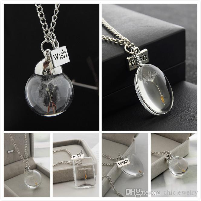 Real Dandelion Seed in a Wish Teardrop Jewellery Silver Necklace ... 7a9cb90576f5