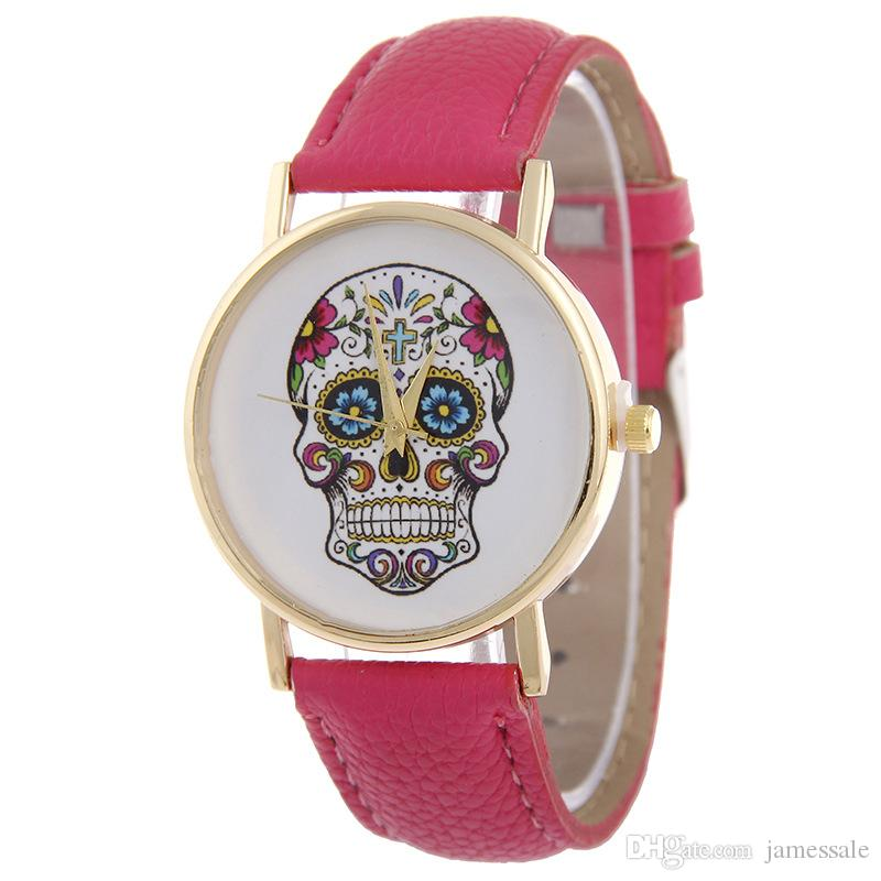 Belt cat students watch Han edition style rural wind Ms speed sell tong skull punk watch litchi grain belt quartz table