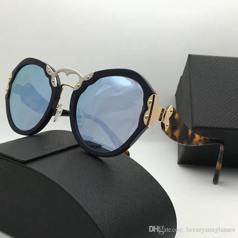 Spr 09 T Gafas de sol de lujo Retro Forma redonda Moda Vintage Summer Style UV400 Protección Popular Diseñador de la marca Mujeres Ven con estuche