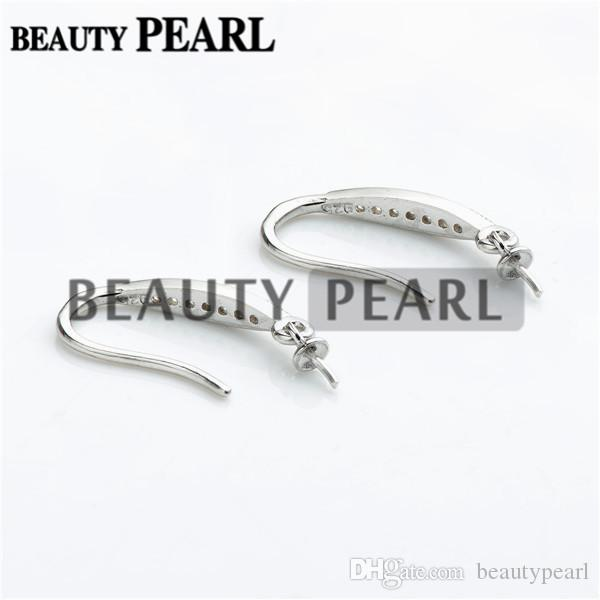Earrings 925 Sterling Silver Zircon Hook Earrings Findings DIY Jewelry Making for Drop Pearl