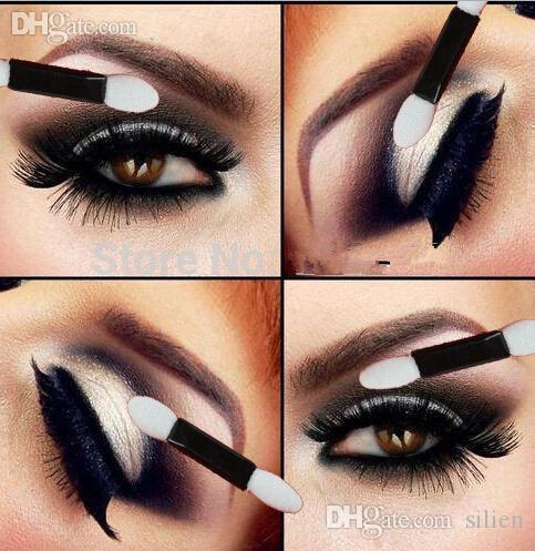 Atacado-NEW Descartáveis Make Up Eye Aplicador Sombra Escova double-headed esponja sombra escova de olho /  + Frete grátis