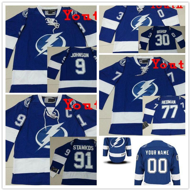 c13df8763 ... Ben Bishop Jersey Blue White Authentic 2017 Custom Tampa Bay Lightning  Youth 9 Tyler Johnson Ice Hockey Jersey