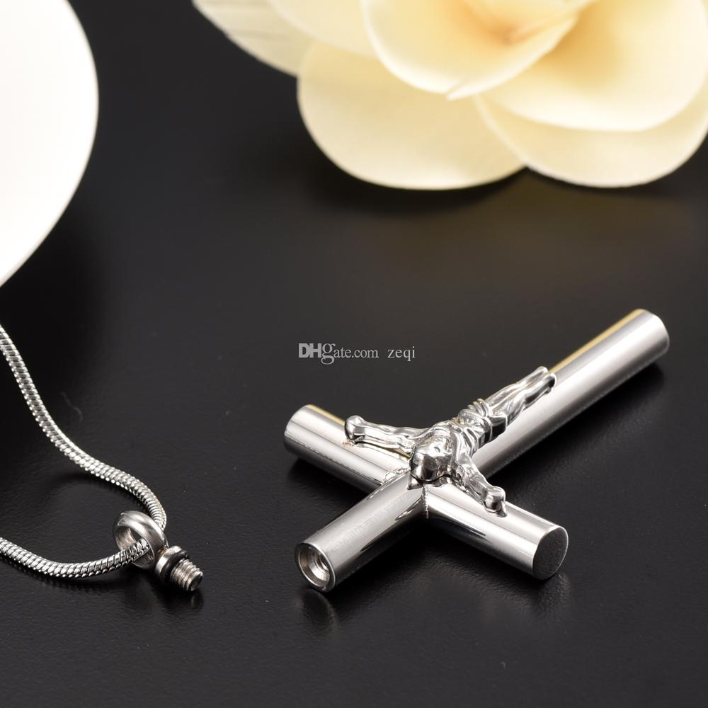 Gran Jesu Cruz Cremación Urna Colgante Collar, es Memorial Ash Keepsake Funeral Urn Cofia Accesorios de moda