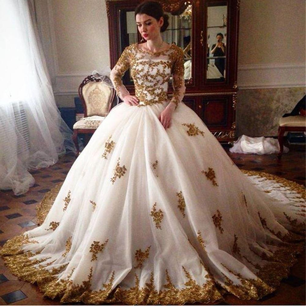 Gothic Vintage White Gold Lace Wedding Dresses Long Sleeve Turkey Islamic Ball Gown Bridal Dress Long Tail Alibaba Z574