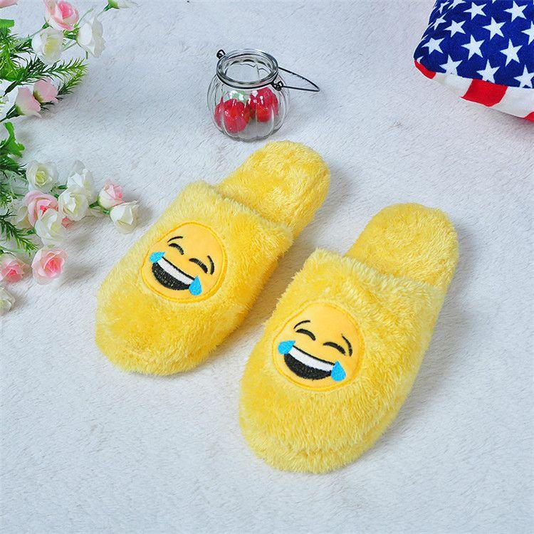 Emoji Terlik Karikatür Peluş Terlik Ev Giyim Erkek Kadın Terlik Kış Ev Ayakkabı Sarı Karikatür Pamuk Ayakkabı ev ayakkabı IB314