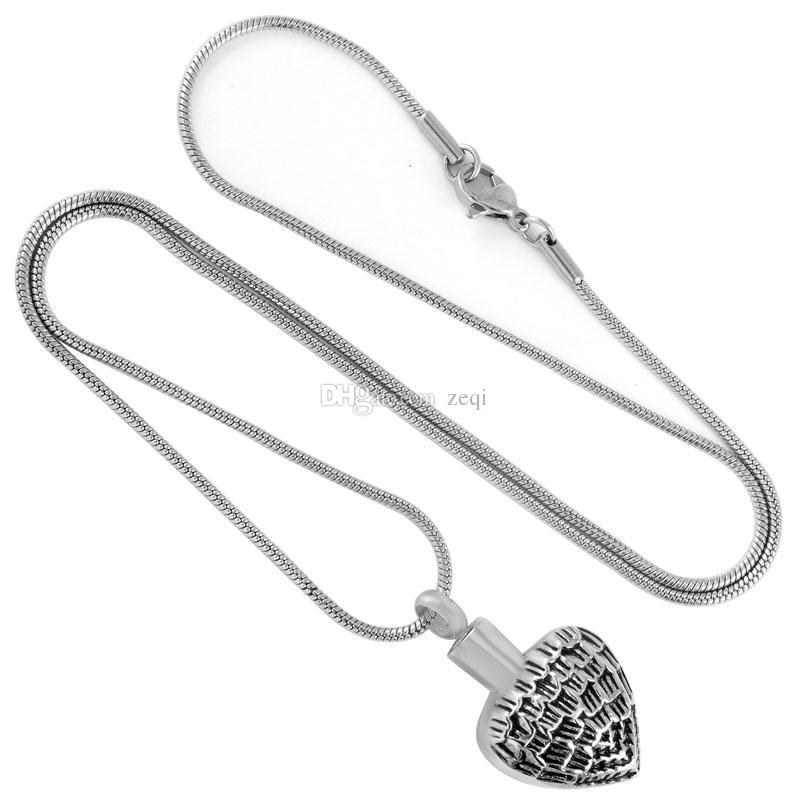 IJD9745 Squama Oberfläche Herz Edelstahl Anhänger Halskette Feuerbestattung Schmuck Asche Andenken Urne Halskette