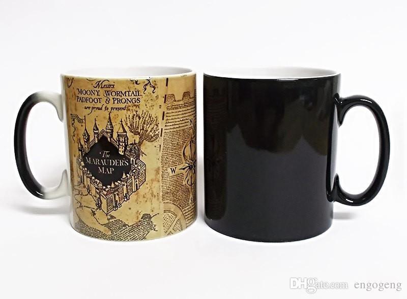 Marauders Map Coffee Mug Promotion HP Marauders Map Heat Reveal Mug Color Change Coffee Cup  Marauders Map Coffee Mug