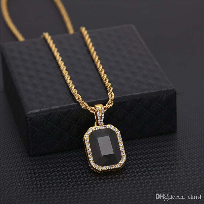 Men Hip Hop Red Black Green Blue Square Gem Pendant Necklaces Bling Bling Hain Iced Out Necklace Unisex Jewelry