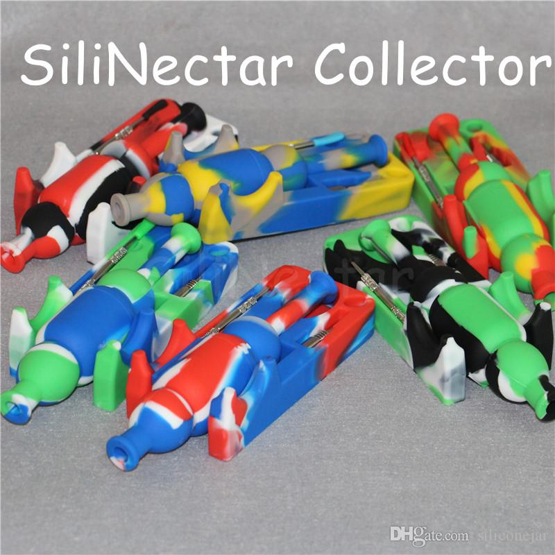10mm Mini Silikon Nectar Collectors Kits mit Domeless Ti Nagel Nector Sammler Ölplattformen Glas Bongs Glas Wasserpfeifen Silikon Bong DHL