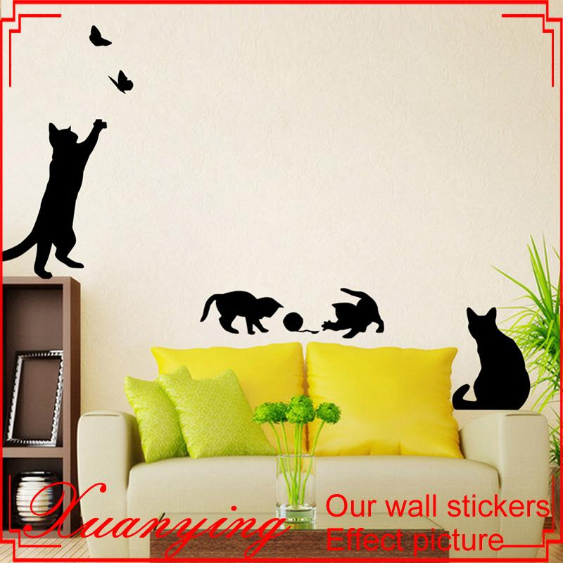 wall murals cat play butterflies stickers wall sticker decor decals for walls vinyl decal love wall stickers make your own wall decals from xymy757