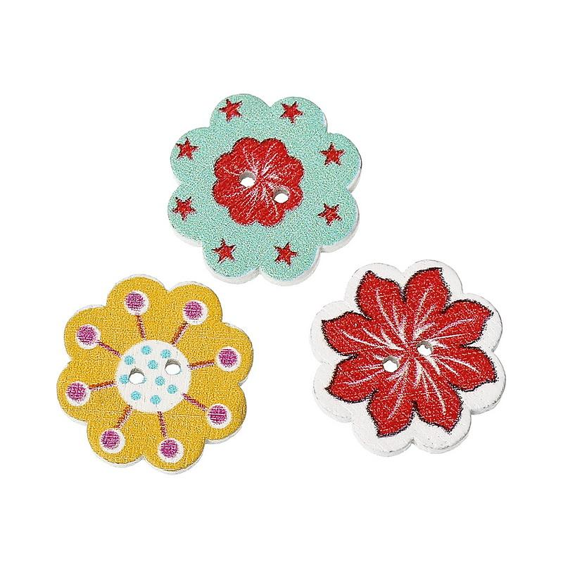 Wholesale Natural Wooden Buttons Colorful Mixed Flowers Wave Edge Scrapbook Sewing Accessories DIY Craft 2 Holes 20x19mm