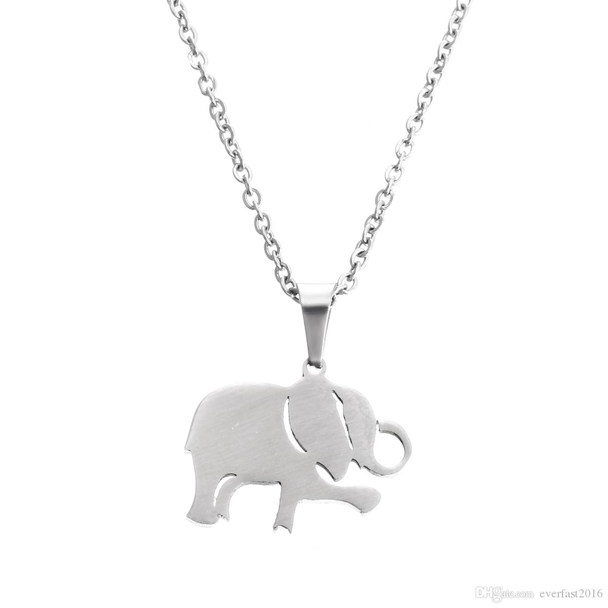 8075cd7a8c0e0 EVERFAST Fashion Stainless Steel Necklace, Lovely Dancing Elephant Pendant  Animal Necklaces Women Kids Long Chain Party Gift SN036