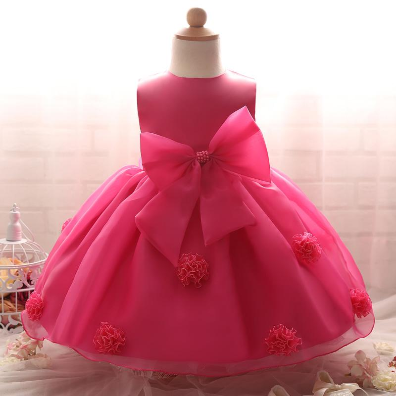 2019 Wholesale Baby Dress Big Bow Princess Girls Flower Dresses